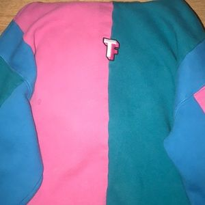 TeddyFresh blue and pink hoodie